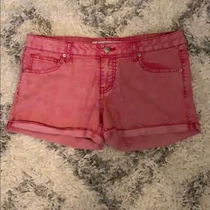 Distressed red jean shorts size 11!